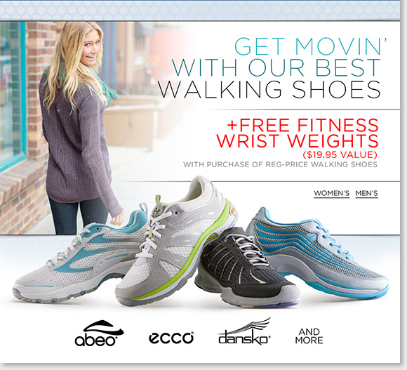 Get moving in the comfort of our best walking shoes from ABEO, ECCO, Dansko and more great brands! Enjoy a FREE set of wrist weights with any regular priced walking shoe purchase.* Shop now to find the best selection online and in-stores at The Walking Company.