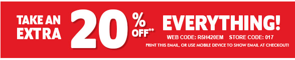 Take An Extra 20% off Everything!