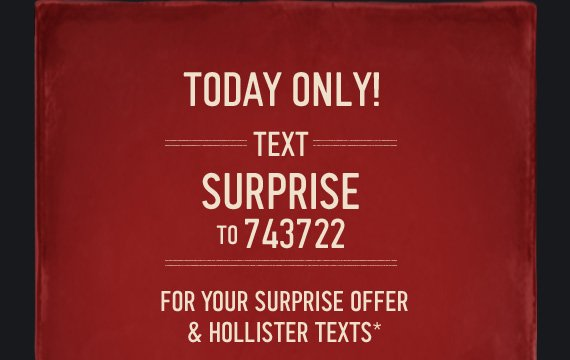 TODAY ONLY! TEXT SURPRISE TO  743722 FOR YOUR SUPRISE OFFER & HOLLISTER TEXTS*