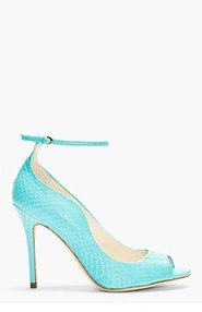 BRIAN ATWOOD Turquoise Snakeskin Myrta Heels for women