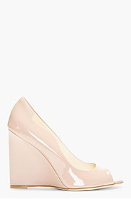 BRIAN ATWOOD Nude Patent Leather Luz Wedge Heels for women