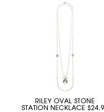 Riley Oval stone station necklace,