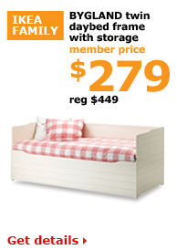 BYGLAND twin daybed frame with storage | Member price $279