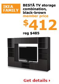 BESTÅ TV storage combination, black-brown | Member price $412