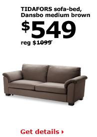 TIDAFORS sofa-bed, Dansbo medium brown | $549