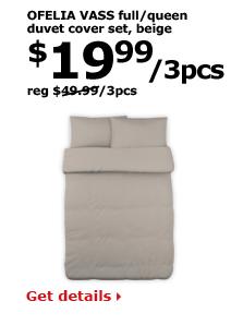 OFELIA VASS full/queen duvet cover set, beige | $19.99/3pcs