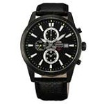 Orient TT12002B Men's SP Black Dial Black IP Steel Leather Strap Chronograph Watch