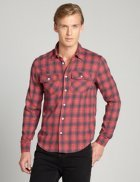 Red Plaid Cotton Blend Long Sleeve
