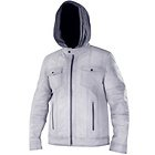 Xelement Mens Cafe Racer Grey Casual Leather Jacket with Hoodie