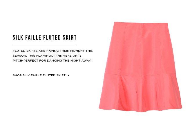 Silk Faille Fluted Skirt