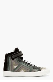 PIERRE HARDY Grey rainbow banded suede High-top Sneakers for men