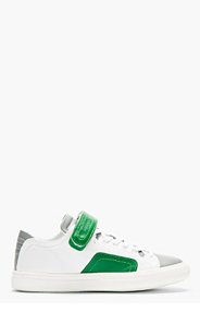 PIERRE HARDY White green trimmed leather low-top Sneakers for men