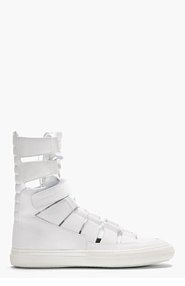 PIERRE HARDY White Leather Gladiator High-Top Sneakers for men