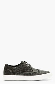 PIERRE HARDY Black Textured Leather Brogued Sneakers for men