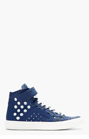 PIERRE HARDY Navy Leather Perforated Hi-Top Sneakers for men