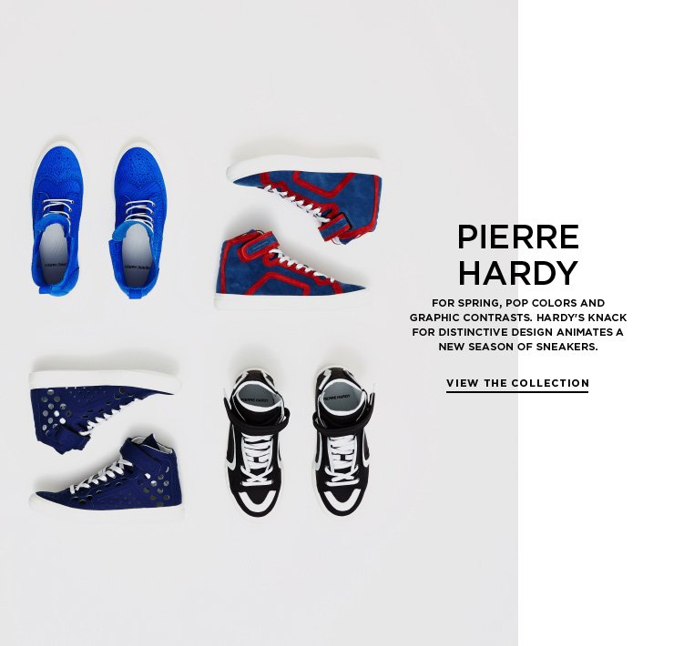 Graphic design from Pierre Hardy For Spring, pop colors and graphic contrasts. Hardy's knack for distinctive design animates a new season of sneakers.