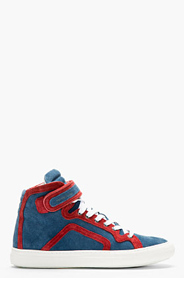 PIERRE HARDY BLUE & RED PIPED Suede High-top sneakers for men