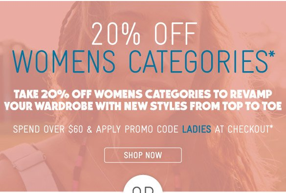 Take 20% Off Womens Categories