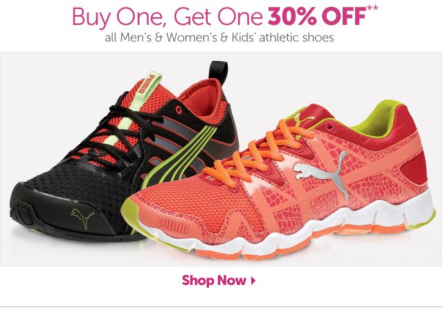 Buy One Get One 30% OFF** all Men's & Women's & Kids' athletic shoes - Shop Now