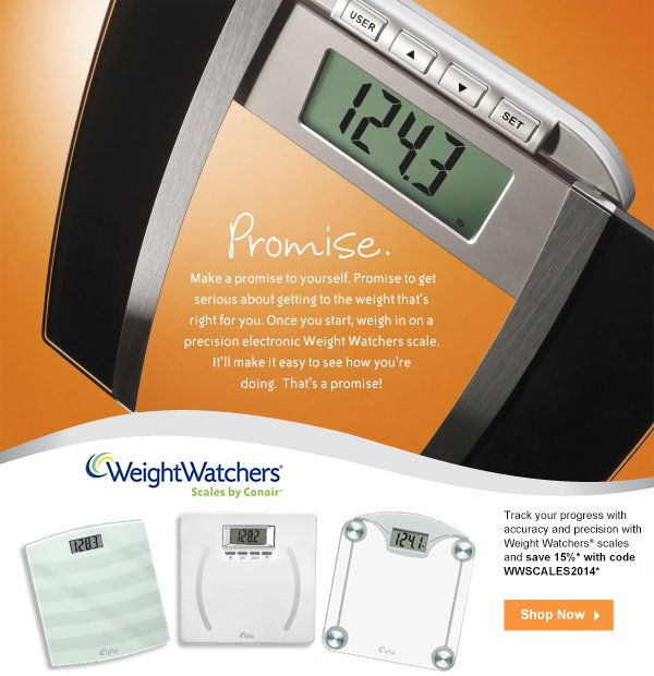 Start fresh with 15% off Weight Watchers Scales by Conair