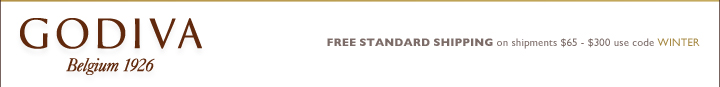 GODIVA Belgium 1926 FREE STANDARD SHIPPING on shipments $65-$300 use code WINTER