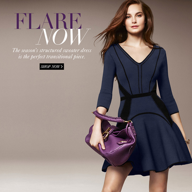 Flare Now: The season's structured sweater dress is the perfect transitional piece. Shop Now.