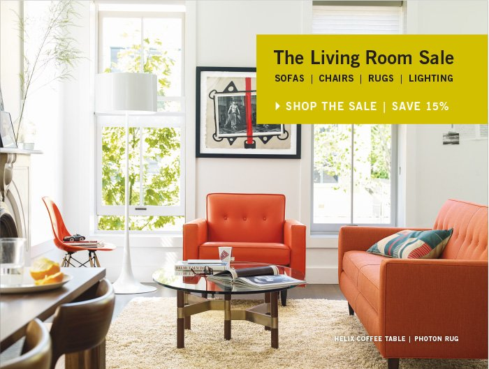 Living Room Sale SOFA| CHAIRS | RUGS | LIGHTING SHOP THE SALE | SAVE 15%