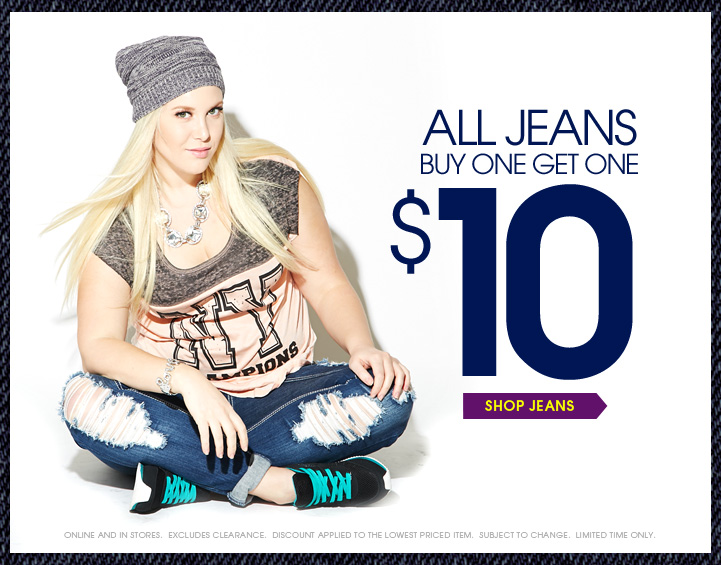 All Jeans Buy One Get One $10