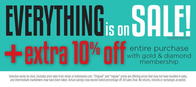 Everything is on sale! + extra 10% off entire purchase with gold & diamond membership. Selection varies by store. Excludes prior sales from stores and  loehmanns.com. Original and regular prices are offering prices that may not have resulted in sales, and intermediate markdowns may have been taken. Actual savings may exceed stated percentage off. All sales final. No returns, refunds or exchanges accepted.
