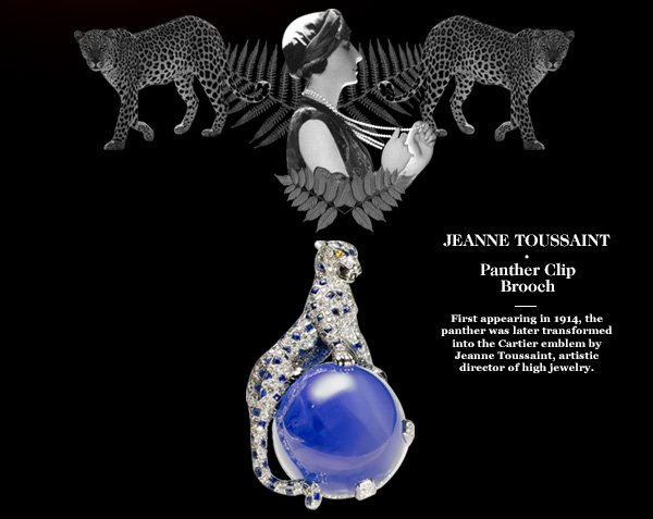 JEANNE TOUSSAINT - Panther Clip Brooch - First appearing in 1914, the panther was later transformed into the Cartier emblem by Jeanne Toussaint, artistic director of high jewelry.