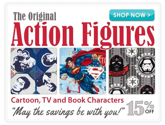 15% Off all Famous Cartoon, TV and Book Characters Cotton Prints