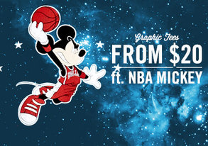 Shop Graphic Tees from $20 ft. NBA Mickey