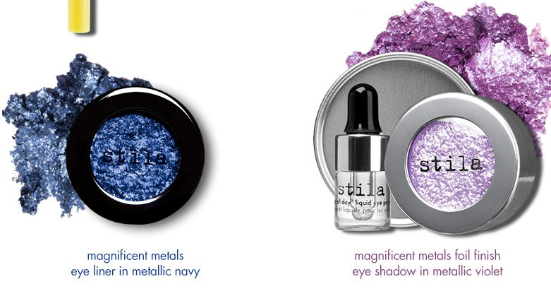 magnificent metals eye liner in metallic navy and magnificent metals foil finish eye shadow in metallic violet