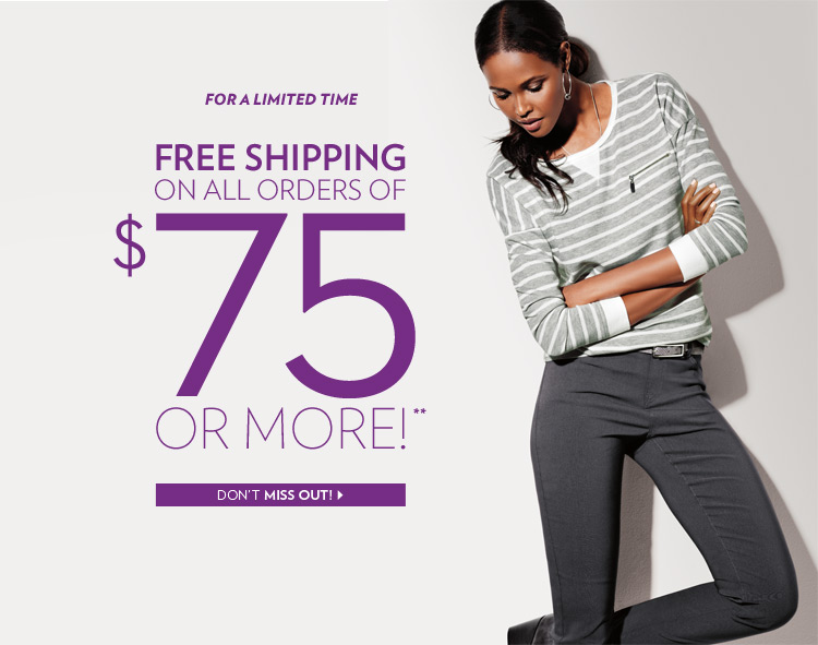 For a limited time Free shipping on all orders of $75 or more!**
