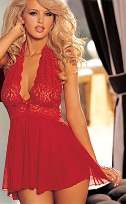 Shirley of Hollywood Stretch Lace Halter Babydoll With Matching Thong