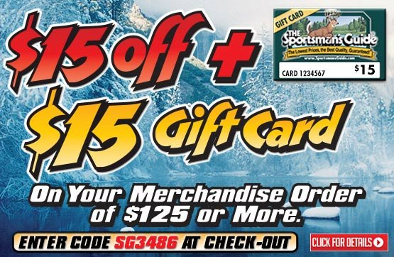 $15 OFF + Free $15 Gift Card with Your Merchandise Order of $125 or More... Please Enter Coupon Code SG3486 at Checkout...