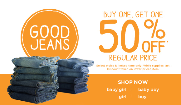 Good Jeans. Buy one, get one 50% off(4) regular price. Select styles & limited time only. While supplies last. Discount taken on lower priced item. Shop Now.