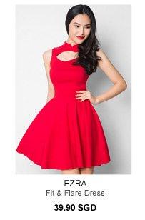 EZRA Mandarin Collar Fit & Flare Dress