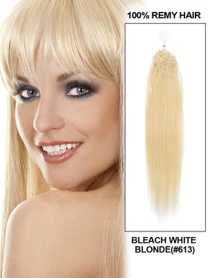 "20"" 100 Strands Silky Straight Micro Loop Indian Remy Human Hair Extension - Bleach White Blonde (#613)"