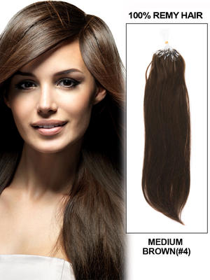 "20"" 100 Strands Silky Straight Micro Loop Indian Remy Human Hair Extension - Medium Brown (#4)"