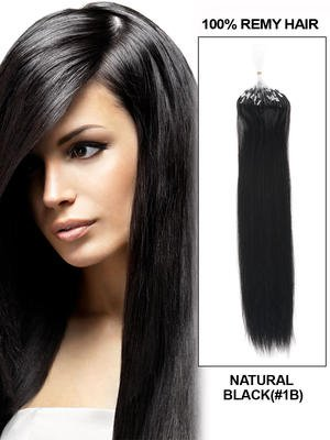 "24"" 100 Strands Silky Straight Micro Loop Indian Remy Human Hair Extension - Natural Black (#1B)"