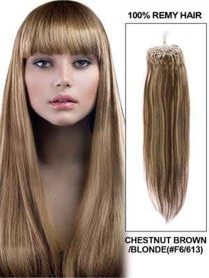 "24"" 100 Strands Silky Straight Micro Loop Indian Remy Human Hair Extension - Chestnut Brown/Blonde (#F6/613)"
