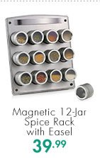 Magnetic 12-Jar Spice Rack with Easel  39.99