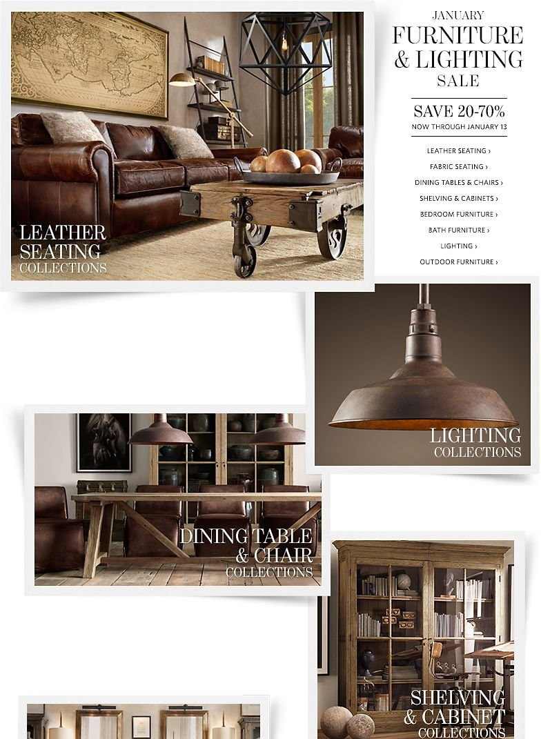 January Furniture and Lighting Sale - Save 20-70% Through January 13
