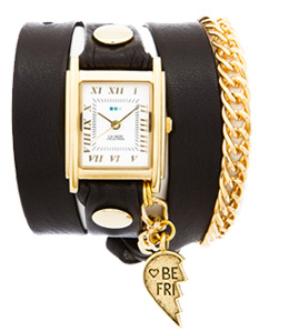 Exclusive! Best Friend Watches Black and Gold Wrap Watch