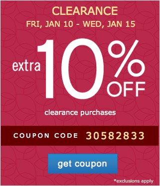 Extra 10% off clearance purchases. Get coupon.