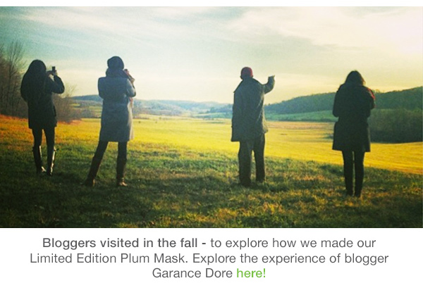 Bloggers visited in the Fall for a Plum Mask tour!