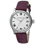 Wenger 0521.103 Women's Terragraph Silver Dial Purple Leather Strap Watch