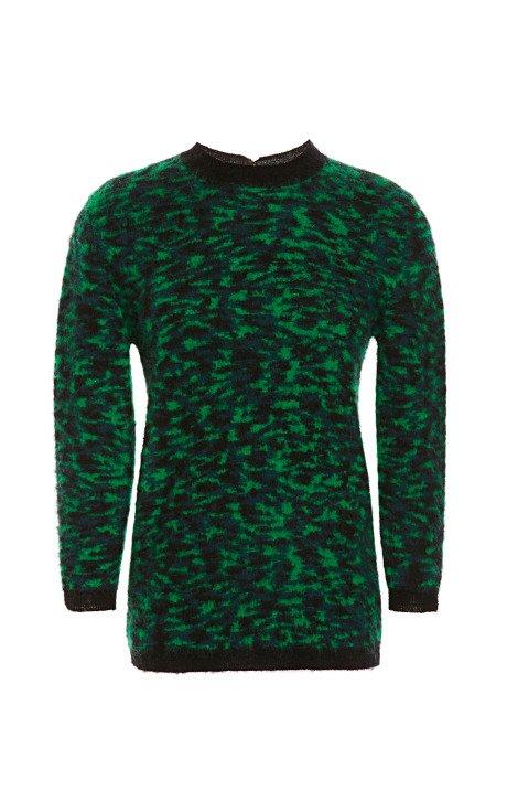 Petrol Green Jacquard Mohair Sweater
