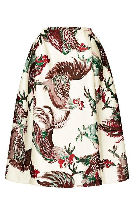 Rooster Print Duchesse Skirt